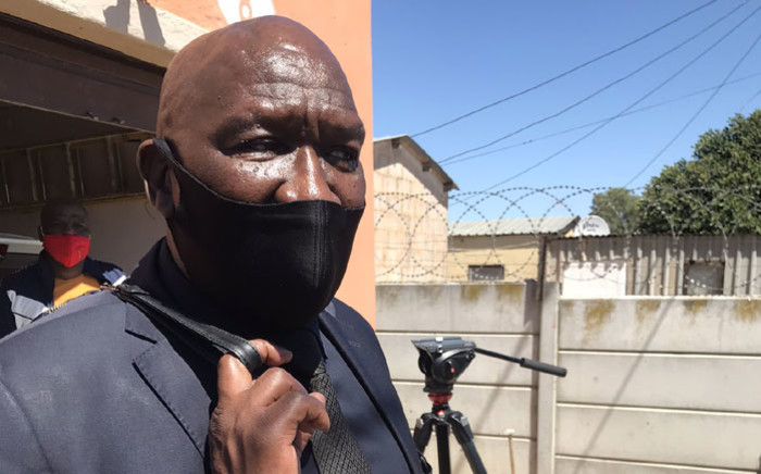 Police Minister Bheki Cele speaks to the media on 2 March 2021 after visiting the families of the two police officers who were killed while on patrol in Kraaifontein on 28 February 2021. Picture: Lizell Persens/Eyewitness News