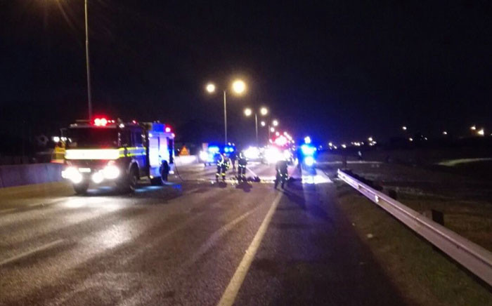 Authorities monitor the N2 highway in Cape Town on 1 July 2016 following a protest. Picture: City of Cape Town.