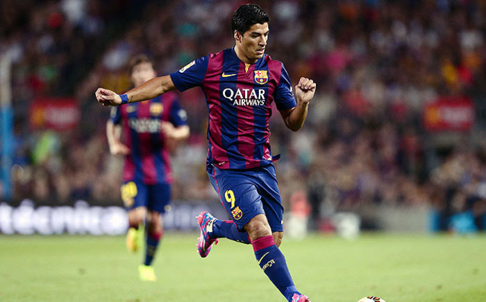 Luis Suarez makes Barca debut. Picture: AFP.