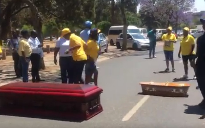 A video screengrab of the National Funeral Shut Down march on 16 October 2019 in the Pretoria CBD.