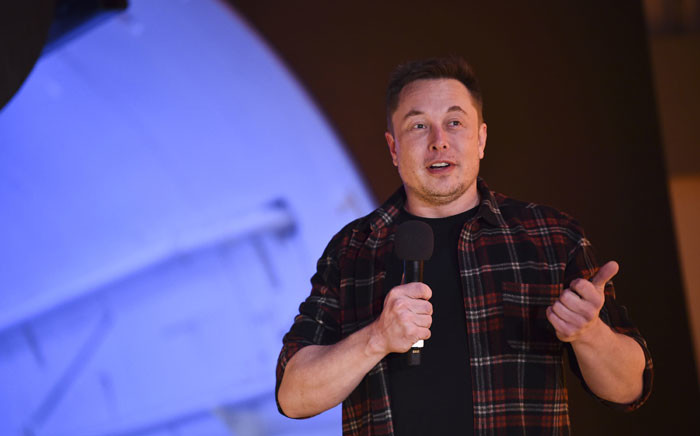 FILE: Elon Musk, co-founder and chief executive officer of Tesla Inc., speaks during an unveiling event for the Boring Company Hawthorne test tunnel in Hawthorne, south of Los Angeles, California on 18 December 2018. Picture: AFP