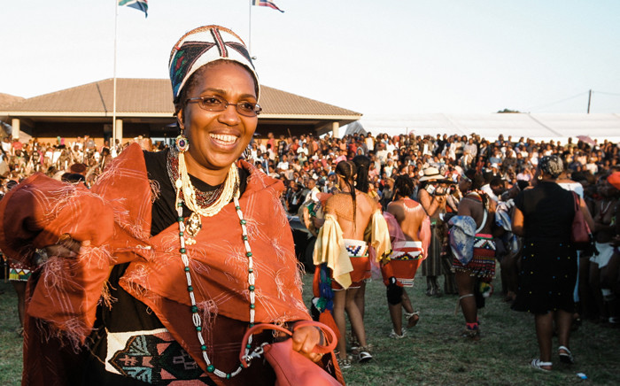A picture taken on 11 September 2004 shows Queen Mantfombi Dlamini Zulu taking part in the annual Reed Dance dance festival at the Enyokeni Royal Palace in KwaNongoma. Picture: AFP