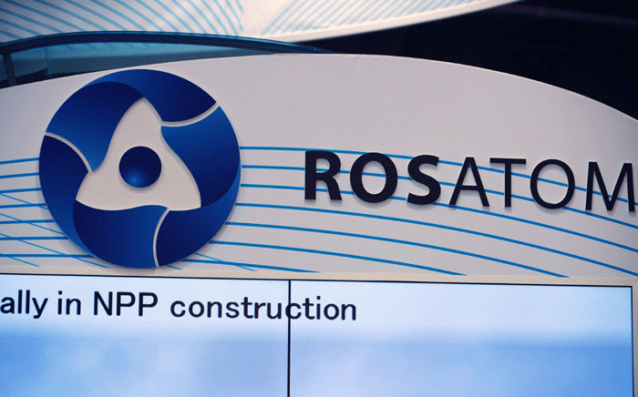 A picture taken on 28 June 2016 shows the logo of Russian atomic energy agency Rosatom. Picture: AFP.