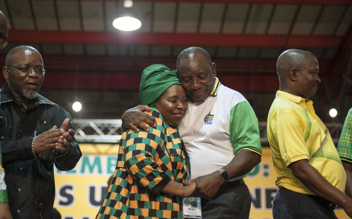 Cyril Ramaphosa greets Nkosazana Dlamini Zuma after he triumphed against her to become new ANC president on 18 December 2017. Picture: Ihsaan Haffejee/EWN