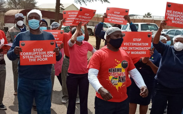 FILE: Nehawu members protest for better working conditions on 26 August 2020. Picture: Nehawu AD/Facebook