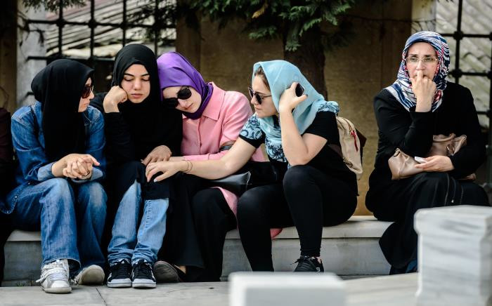 Relatives of suicide attack victim Mohammad Eymen Demirci mourn on 29 June 29 2016 in Istanbul during his funeral a day after a suicide bombing and gun attack targeted Istanbul's Ataturk airport. Picture: AFP.
