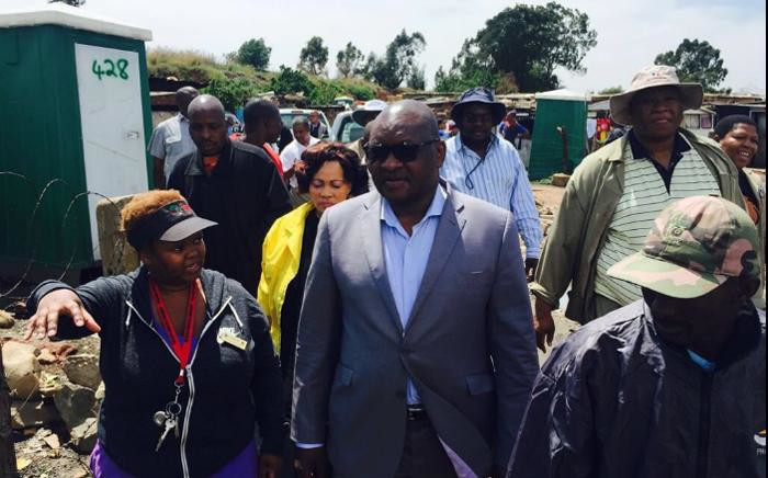 Gauteng Premier David Makhura at the Ulana informal settlement on the East Rand on 11November after days of heavy rain left hundreds displaced. Picture: @GautengProvince.