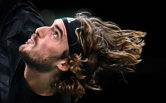 Greece's Stefanos Tsitsipas serves to France's Ugo Humbert during their men's singles second round tennis match on day 2 at the ATP World Tour Masters 1000 - Paris Masters (Paris Bercy) - indoor tennis tournament at The AccorHotels Arena in Paris on 3 November 2020. Picture: AFP