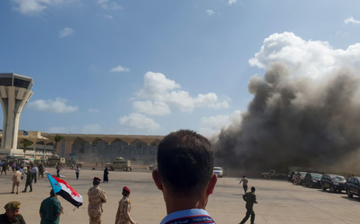 Smoke billows at the Aden Airport on 30 December 2020, after explosions rocked the Yemeni airport shortly after the arrival of a plane carrying members of a new unity government. Picture: AFP