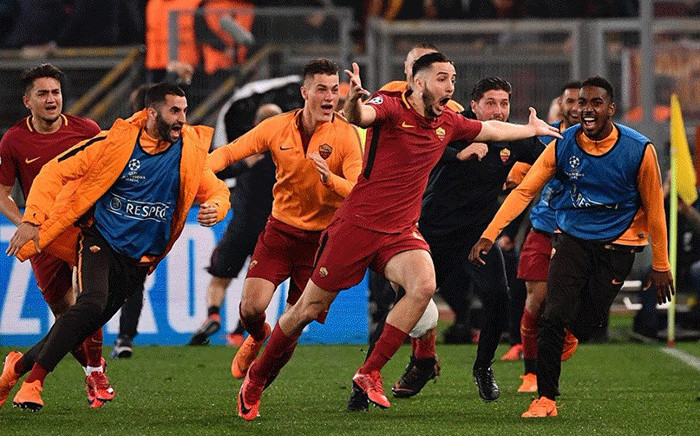 AS Roma players celebrate their win against Barcelona in the Uefa Champ[ions League on 10 April 2018. Picture: Facebook.