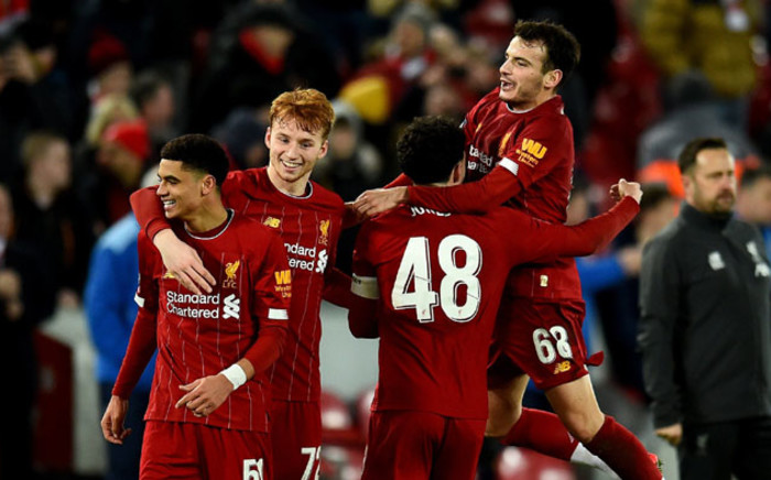 Liverpool players celebrate their FA Cup fourth round replay win over Shrewsbury at Anfield, Liverpool on 4 February 2020. Picture: @LFC/Twitter