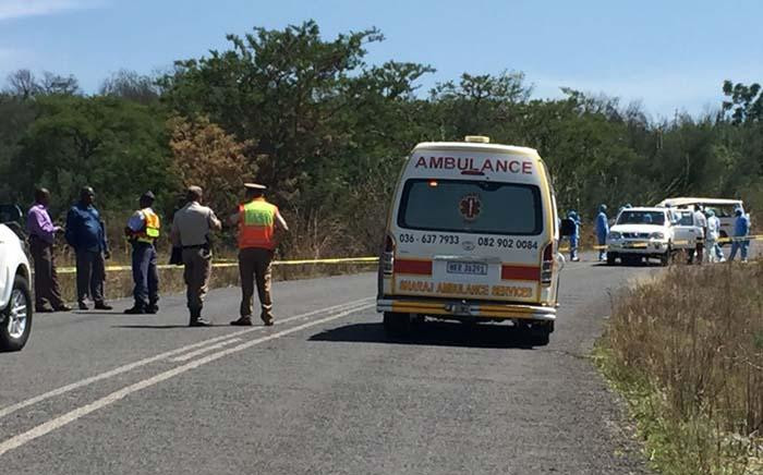 Police on the scene after more than 10 people died after a shooting and a subsequent crash in Ladysmith. Picture: Ladysmith Gazette