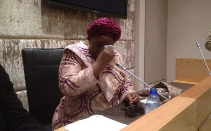 Home Affairs Minister Nkosazana Dlamini-Zuma breaks down during a farwell gathering with members of the Home Affairs parliamentary portfolio committee. Picture: Regan Thaw/EWN