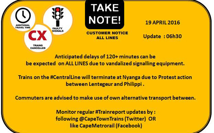 Metrorail issued a warning to commuters via Twitter on 19 April 2016 after signalling equipment was vandalised, causing major delays on all its routes.