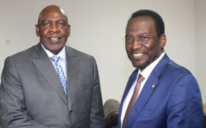 Mali's interim president Dioncounda Traore (R) and prime minister Cheick Modibo Diarra in Koulouba,on April 18, 2012. Picture: AFP.
