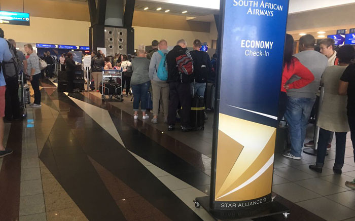 Queues at OR Tambo International Airport due to a strike by SAA cabin crew members. Picture: Mia Lindeque/EWN
