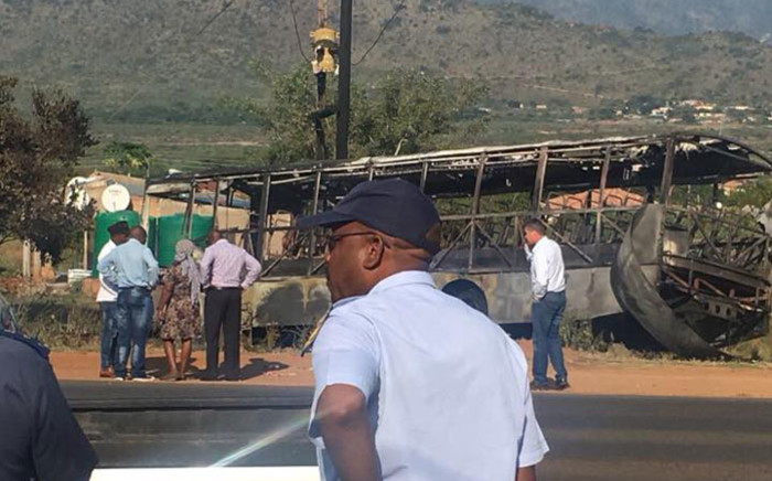 The wreckage of the bus that was petrol bombed near Burgersfort, Limpopo on 2 April 2018. Picture: SA Police Service Facebook page