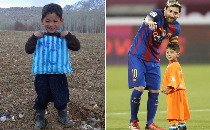 This combination of pictures created on 14 December, 2016 in Paris shows Afghan boy Murtaza Ahmadi and Lionel Messi. Picture: AFP.