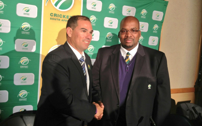 Proteas coach Russell Domingo and CSA president Chris Nenzani. Picture: Marc Lewis/EWN.