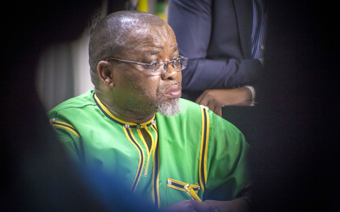 ANC Secretary General Gwede Mantashe takes questions on the NEC meetings that took place all weekend from the Press. Picture: Thomas Holder/EWN.