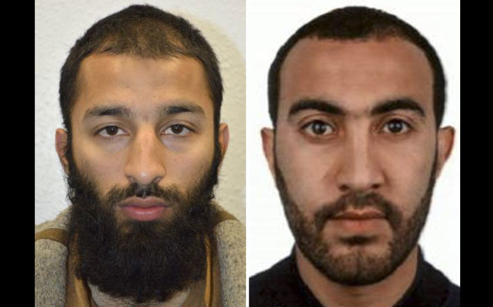 An undated handout picture released by the British Metropolitan Police Service in London on June 5, 2017 shows Khuram Shazad Butt (L) and Rachid Redouane from Barking, east London, believed by police to be two of the three attackers in the June 3 terror attack on London Bridge. Picture: AFP.