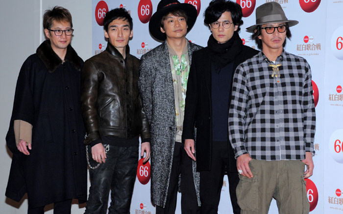 This file picture taken on December 30, 2015 shows members of the Japanese boy band SMAP (L to R) Masahiro Nakai, Tsuyoshi Kusanagi, Shingo Katori, Goro Inagaki and Takuya Kimura in Tokyo. Hugely popular Japanese boy band SMAP will break up at the end of the year, their management said on August 14, 2016, saddening their army of fans across Asia and marking the end of an era. Picture: AFP.