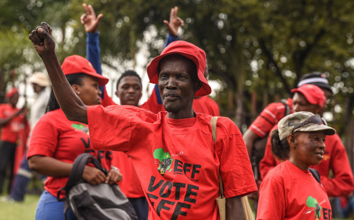 EFF supporters gather at Innesfree Park, Sandton, on 28 February 2020 for their people's march against load shedding and the proposed privatisation of Eskom. Picture: @EFFSouthAfrica/Twitter