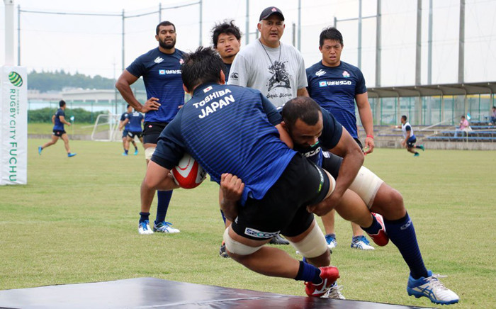 Japan's rugby team during a training session. Picture: @JRFURugby/Twitter.