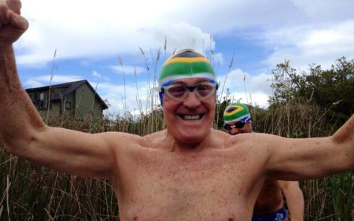 Otto Thaning, a 73-year-old South African heart surgeon, has become the oldest person to swim the English Channel. Picture: Twitter.