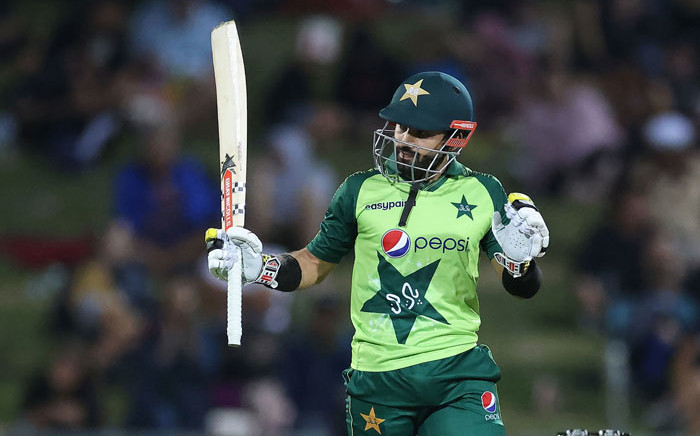 Pakistan batsman Mohammad Rizwan celebrates reaching his half century (50 runs) during the third T20 cricket match between New Zealand and Pakistan at McLean Park in Napier on 22 December 2020. Picture: AFP