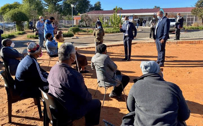 Northern Cape Health MEC Maruping Lekwene joined the vaccination team at Harmony Home in Kimberley for the start of the phase 2 vaccination drive, where the elderly got their COVID-19 jabs. Picture: @nc_doh/Twitter.