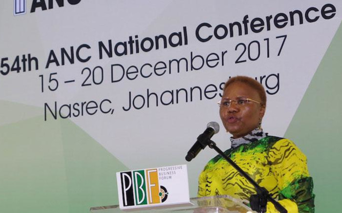 Small Business Development Minister Lindiwe Zulu speaks at the Progressive Business Forum at the Nasrec in Johannesburg on 18 December 2017. Picture: Louise McAuliffe/EWN.