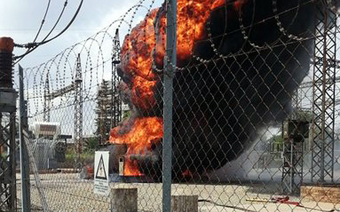 Parts of Kempton Park in Ekurhuleni was left without power after an Eskom transformer caught fire earlier on 12 January 2019. Picture: @Eskom_SA/Twitter