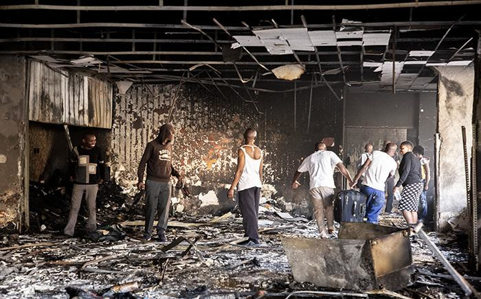A fire broke out in a Johannesburg building destroying shops owned by foreign nationals. Picture: Kayleen Morgan/EWN