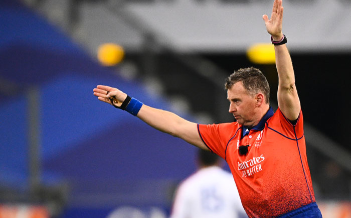 Welsh referee Nigel Owens gestures during the Autumn Nations Cup Group B international rugby union match between France and Italy, at the Stade de France stadium, in Saint-Denis, on the outskirts of Paris, on 28 November 2020. Picture: AFP