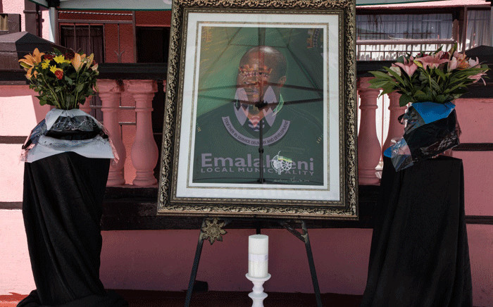 FILE: The setup outside Jackson Mthembu's home in Ackerville, Emalahleni in Mpumalanga, ahead of the delegation expected to arrive and pay tribute to his family. Picture: Boikhutso Ntsoko/Eyewitness News.
