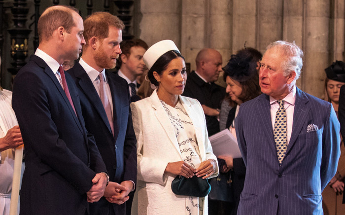 Britain's Meghan, Duchess of Sussex talks with Prince Charles, Prince of Wales (R), as Prince William, Duke of Cambridge (L), talks with Prince Harry, Duke of Sussex (2L), as they all attend the Commonwealth Day service at Westminster Abbey in London on 11 March 2019. Picture: Richard Pohle/POOL/AFP
