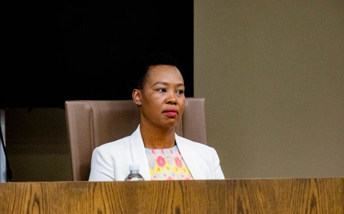 Communications Minister Stella Ndabeni-Abrahams at a media briefing on the coronavirus on 25 March 2020 in Pretoria. Picture: Kayleen Morgan/EWN
