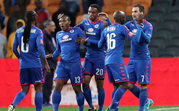 FILE: SuperSport United players celebrate a goal. Picture: @SuperSportFC/Twitter