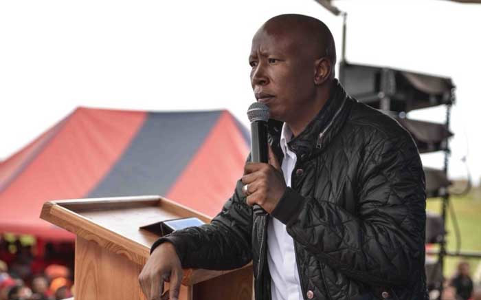 Economic Freedom Fighters leader Julius Malema addressing supporters at the party's land expropriation without compensation rally in George. Picture: @EFFSouthAfrica/Twitter.