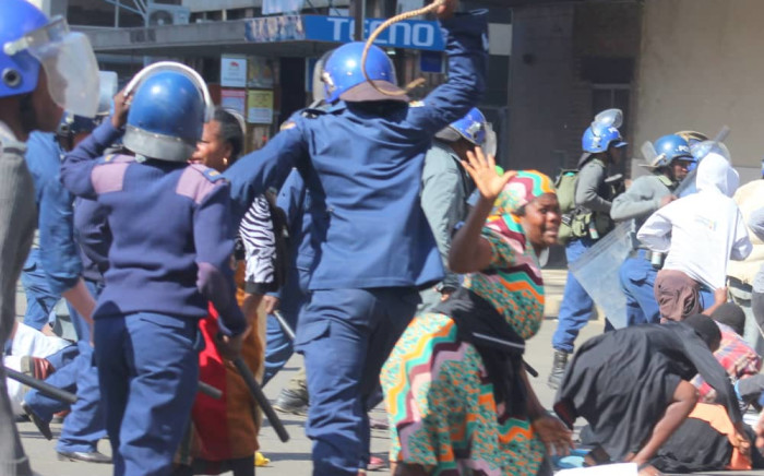 Police action in Harare, Zimbabwe on 16 August 2019. Picture: Lovejoy Mutongwiza/@263Chat/Twitter
