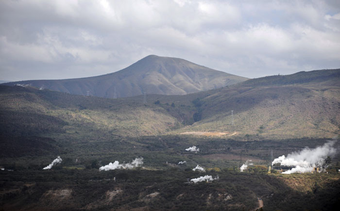 FILE: Vapour rises from silencer stacks near superheated steam wells in the hills of the Hells Gate National Park close to the Olkaria geothermal plant located near the central Kenyan town of Naivasha on 26 June 2008. Picture: AFP