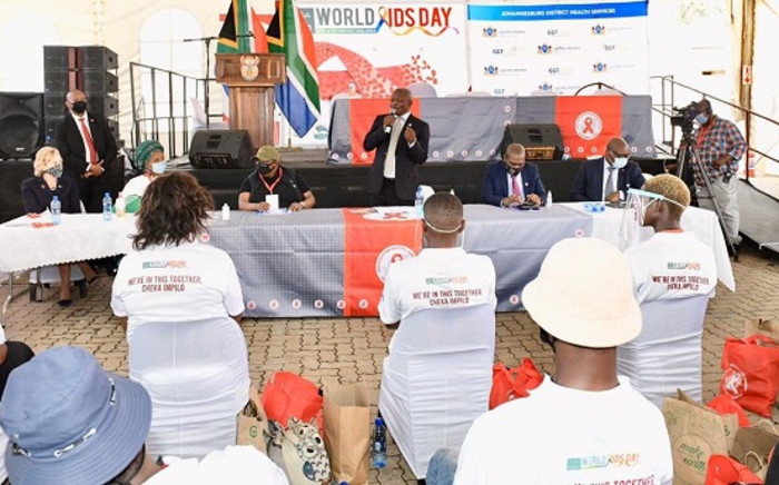 Deputy President David Mabuza, in his capacity as Chairperson of the South African National AIDS Council (SANAC), delivered the keynote address during the World Aids Day commemoration event on 1 December 2020 in Soweto. Picture: @GovernmentZA/Twitter