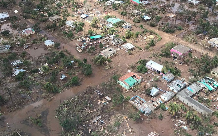 A village just outside Beira which has been flooded when cyclone Idai hit Mozambique is seen from the sky. Picture: Christa Eybers/EWN