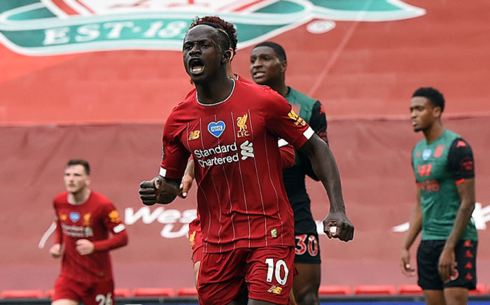FILE: Liverpool's Sadio Mane celebrates his goal against Aston Villa at Anfield, Liverpool on 5 July 2020. Picture: @LFC/Twitter