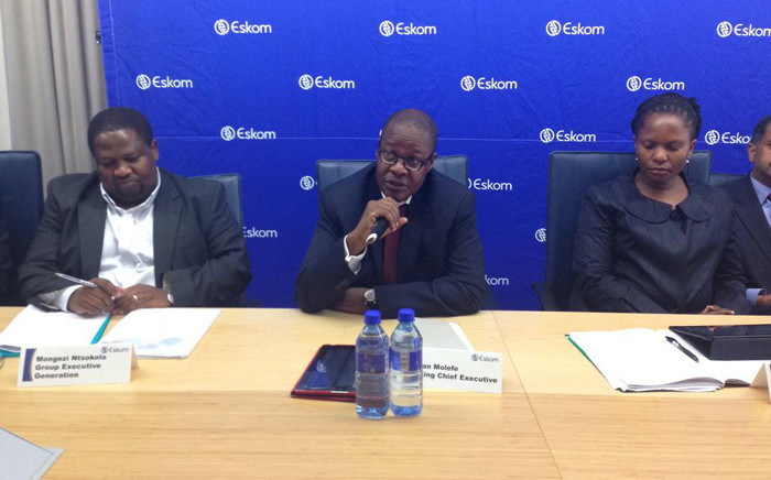 New acting Eskom CEO Brian Molefe briefing media after what he's called a robust meeting with Members of Parliament on 22 April 2015. Picture: Gaye Davis/EWN.