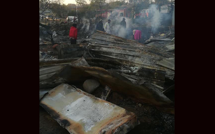 Around 200 shack dwellers have been left homeless after a fire in the Clay Oven Informal Settlement which killed one person. Picture: Twitter/@RobertMulaudzi