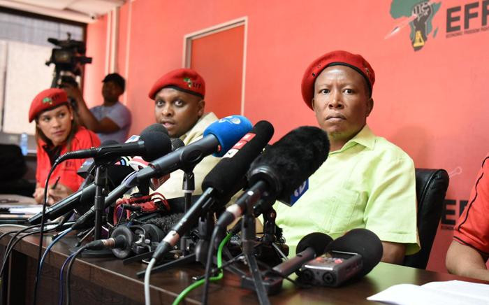 The Economic Freedom Fighters briefed the media on 16 October 2018 on allegations that it benefited from the looting of VBS Mutual Bank. Picture: @EFFSouthAfrica/Twitter