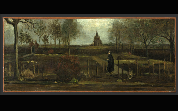 """This handout picture released on March 30, 2020 by the Groningen Museum shows Vincent van Gogh's 1884 painting """"Parsonage Garden at Neunen in Spring"""" which was stolen from the Singer Laren Museum in Laren, about 30 kilometres southeast of Amsterdam, closed to the public because of the COVID-19 pandemic, the museum's director. Picture: Marten de Leeuw / Groninger Museum / AFP."""