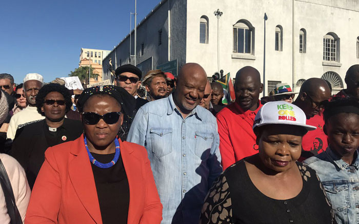 Former Deputy Finance Minister Mcebisi Jonas walks among the crowd. Picture: Cindy Archillies/EWN.